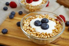 Berries Yogurt And Spelt Flakes Healthy Breakfast Stock Photo