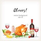 BerriesFood сварило предпосылку торжества праздника блюд праздничную с цыпленком иллюстрация штока