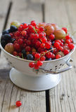 Berry. Red currant, gooseberry, blueberry in a sieve Royalty Free Stock Photos