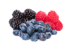 Berry. Blueberries, Raspberries and Blackberries on white Background Royalty Free Stock Image