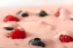 Berry. Blueberry and raspberrys with yoghurt Stock Photos