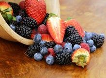 Berry assortment - raspberries, blackberries, strawberries, blueberry Stock Photo