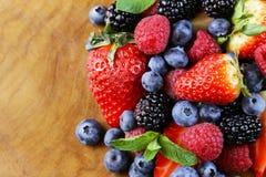 Berry assortment - raspberries, blackberries, strawberries, blueberry Stock Image