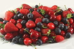 Berry Assortment, Strawberry, Bilberry and Cherry Royalty Free Stock Photography