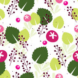 Berry background. Pink berry seamless background with green leaves stock illustration