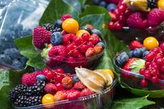 Berry background with fresh raspberries,. Blueberries, currants, strawberries, cherries Stock Photos