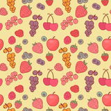 Berry background vector drawing. Seamless background wild berries in a drawing style Royalty Free Stock Images