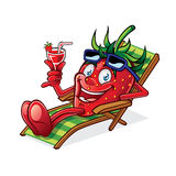Berry on Beach Chair. Cartoon Berry was relaxing on a beach chair, holding up glasses of drink and smiling happily royalty free illustration
