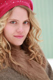 Berry Beret Winter Woman Portrait Stock Photography