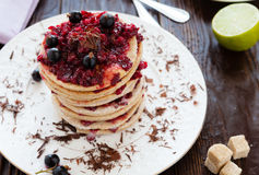 Berry biscuit dessert on a white plate Royalty Free Stock Photography