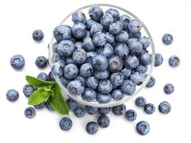 Berry blueberry with leaf mint large Fruity. Top view. stock photography