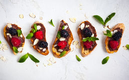 Berry bruschetta Stock Photography