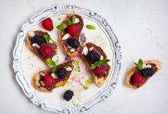 Berry bruschetta Stock Images