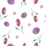 Berry Buds Floral Repeat Pattern-Vektor-nahtloser Hintergrund stock abbildung