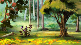 Berry Bush in the Autumn Forest. Beautiful view of idyllic landscape with Berry Bush in the Autumn Forest. Digital Painting Background, Illustration royalty free illustration