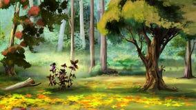Berry Bush i Autumn Forest Arkivbilder