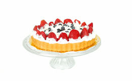 Berry cake on the glass plate. Stock Images