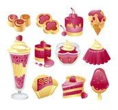Berry cake icon set Royalty Free Stock Photo