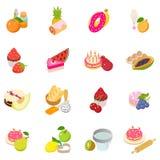 Berry cake icons set, isometric style. Berry cake icons set. Isometric set of 16 berry cake vector icons for web isolated on white background royalty free illustration