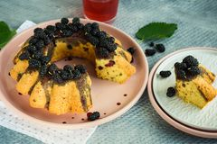Berry cake with mulberry. Homemade sweet cake with mulberry, decorated with berries, on a pink dish stock images