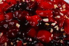 Berry cake. With strawberry, currant, cherry and nuts stock image