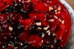 Berry cake. With strawberry, currant, cherry and nuts stock photography