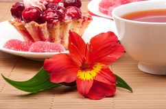 Berry cake with tea and jelly Stock Photography