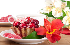 Berry cake with tea and jelly Stock Image