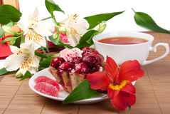 Berry cake with tea and jelly Stock Photos