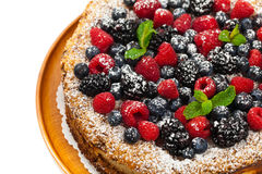 Berry Cake. Very Berry Coffee Cake on white background. Selective focus royalty free stock photos