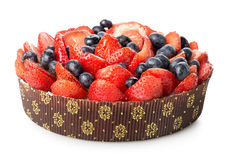 Berry cake. On a white background stock images