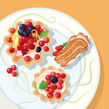 Berry cakes. With cream, decorated with lemon slices and green leaves, lying on a plate. No gradients were used in this illustration. CMYK with global colors stock illustration