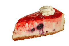 Berry cheesecake. Blueberry cheesecake slice with strawberry glaze topping isolated on white background stock images