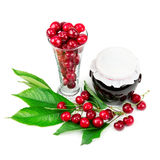 Berry  and cherry jam in the pot Stock Photo