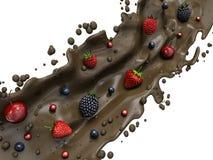 Berry In Chocolate, isolato su fondo bianco Fotografia Stock Libera da Diritti