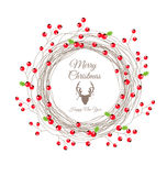 Berry Christmas Wreath for Happy new year card Royalty Free Stock Photos
