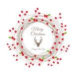 Berry Christmas Wreath per la carta del buon anno Fotografie Stock Libere da Diritti
