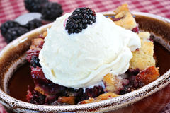 Berry Cobbler with Ice Cream. Fresh and delicious blackberry cobbler with French vanilla ice cream stock photos