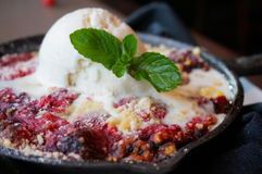 Berry Cobbler with Ice Cream Stock Images