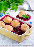 Berry cobbler. In yellow baking dish Royalty Free Stock Image