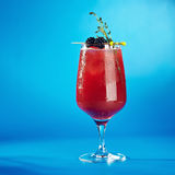 Berry Cocktails for Holiday. On Blue Background. Drink Dressed with Blackberry and Thyme stock photos