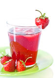 Berry compote with strawberries. Berry compote with fresh strawberries in glass Stock Photo