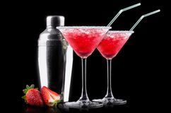 Berry cooler cocktail on a black Stock Photos