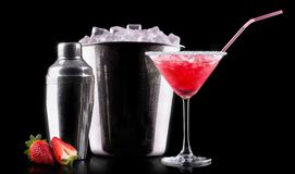 Berry cooler cocktail on a black Stock Images
