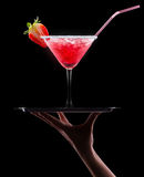 Berry cooler cocktail on a black Royalty Free Stock Images