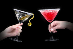 Berry cooler cocktail and martini on a black Stock Photography
