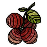 Berry cranberry painted in the style of doodling with small patterns royalty free illustration