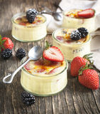 Berry Creme brulee Royalty Free Stock Images