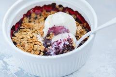 Berry crumble cake with cream ice-cream. Berry crumble with cream ice-cream in a ceramic form Royalty Free Stock Photo