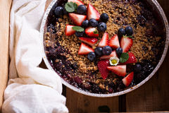 Berry crumble cake made on grill Stock Images